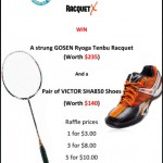 Support UTS AUG students with Raffle tickets and  win GOSEN racquet/VICTOR shoes